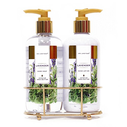 Spa Luxetique Hand Soap and Hand Lotion Caddy Set, Lavender Hand Cream Gift Set, Ideal Gift for the Holidays, Christmas, Birthday, Mother's Day, Valentine's Day, Thank You -