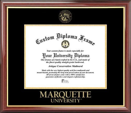 Laminated Visuals Marquette University Golden Eagles - Embossed Seal - Mahogany Gold Trim - Diploma Frame ()
