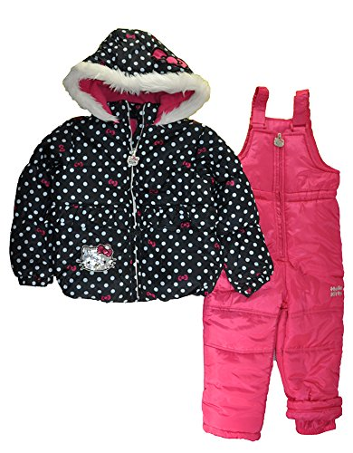 Hello Kitty Little Girls 2pc Printed Snowsuit (6x, Black/Fuchsia)