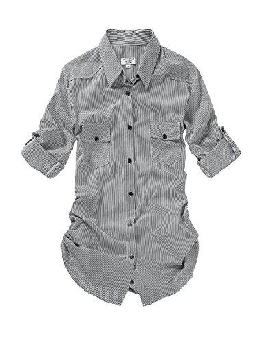 Button Shirt Style Down - Match Women's Long Sleeve Button Down Collar Shirt #B003(Large, Stripe)