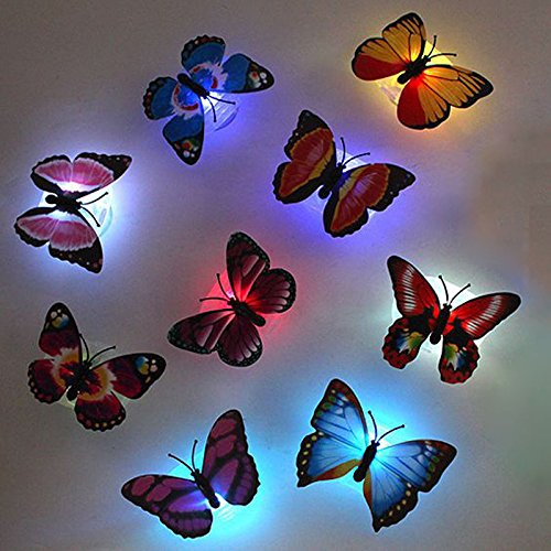 Butterfly LED Lights | 1pc Changing Color Stick-on Cute Butterfly Wall Xmas Decor LED Night Light Lamp