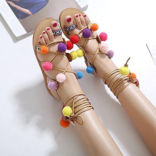 RUGAI-UE mujeres sandalias y calzado casual Light brown