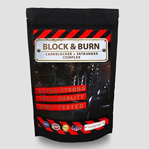 Block&Burn - 500 Kapseln Big Pack XXL - CARBBLOCKER (Kohlenhydrat-Blocker) + FATBURNER, Gewichtsreduktion - Diät - Abnehmen - 100% natürliche Inhaltsstoffe