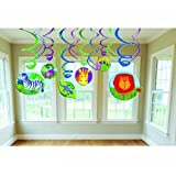 """Amscan Wild Jungle Animals Themed Party Swirls Decorations Value Kit, Multicolor, 24"""""""
