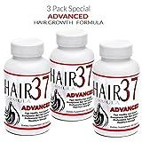 Hair Formula 37 ADVANCED Fast Hair Growth Vitamins 3 bottles - Biotin Packed - Hair Skin and Nails