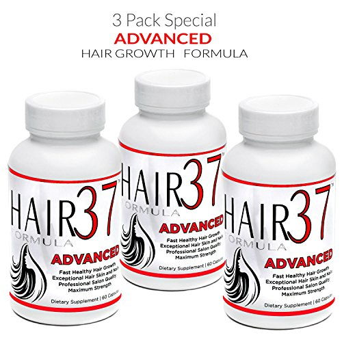 37 Hair Formula Vitamins (Hair Formula 37 ADVANCED Fast Hair Growth Vitamins 3 bottles - Biotin Packed - Hair Skin and Nails)