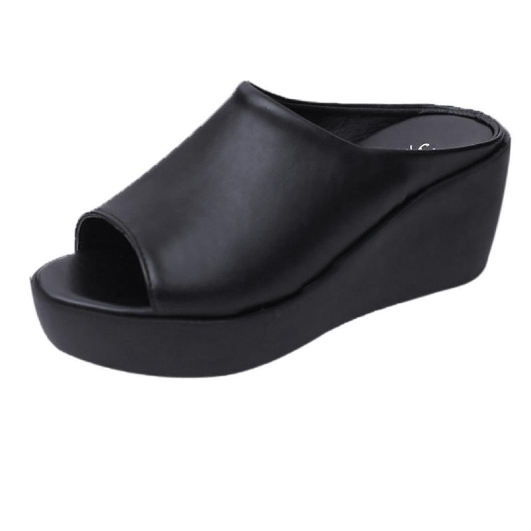 Pocciol Women Sandals, Women Summer Fashion Leisure Fish Mouth Sandals Thick Bottom Slippers Outdoor Shoes (Black, US:7.5)