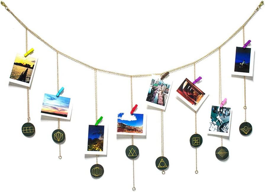 DrCor Hanging Photo Display for Teen Girls Bedroom Adjustable Mandala Picture Organizer Picture Frame Collage with Wood Clips 3ftx2ft
