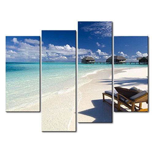So Crazy Art - Canvas Print Wall Art Painting For Home Decor,Maldives Beach A Chair Cloud House 4 Pieces Panel Paintings Modern Giclee Stretched And Framed Artwork Oil The Picture For Living Room Decoration,Seascape Pictures Photo Prints On Canvas