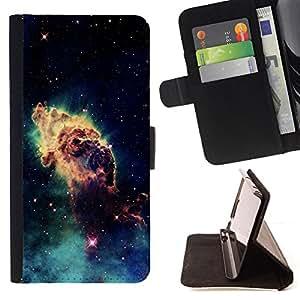 BullDog Case - FOR/Samsung Galaxy S5 V SM-G900 / - / Space Planet Galaxy Stars 46 /- Monedero de cuero de la PU Llevar cubierta de la caja con el ID Credit Card Slots Flip funda de cuer