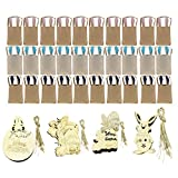 Baoblaze 60pcs/Lot Easter Theme Burlap Bunny Bag + Rabbit Easter Egg Shape Wood Craft