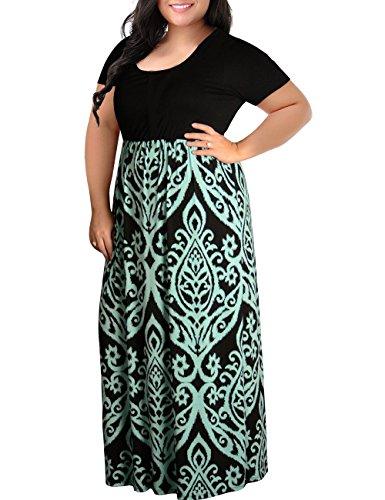 Kancystore Women's Scoop Neck Geometric Printed Bohemian Floor Length Ladies Maxi Dresses 2XL Khaki ()
