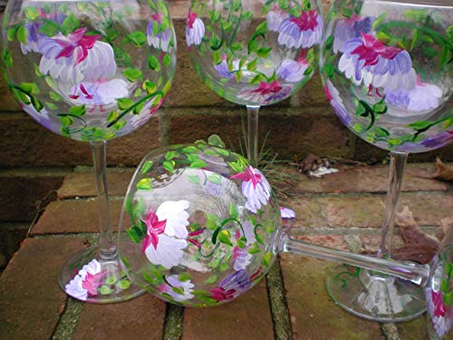 Hand painted pink and purple fuschia goblets. set of 4 20 ounce red wine gobblets. - Painted Goblet Glass Hand