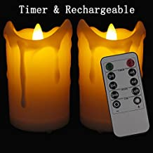 LAPROBING Set of 2 LED Rechargeable Flameless Candles Flickering Votive Candles with Remote Control and Timer of 2,4,6,8 Hours for for Wedding Holiday Christmas Party Decoration(White,3*4 Inches)