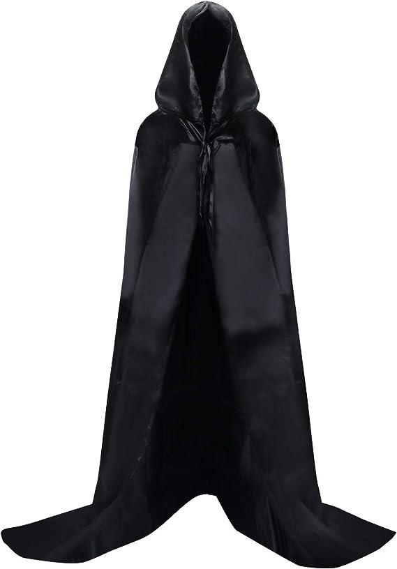 Proumhang Nero Mantello con Cappuccio Lungo in Raso Adulto Costume di Halloween Capo Masquerade Costume di Natale