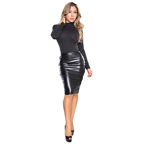 ccbb8f90558 Timbre Women s Faux Leather Skirt Knee Length Black (L  30