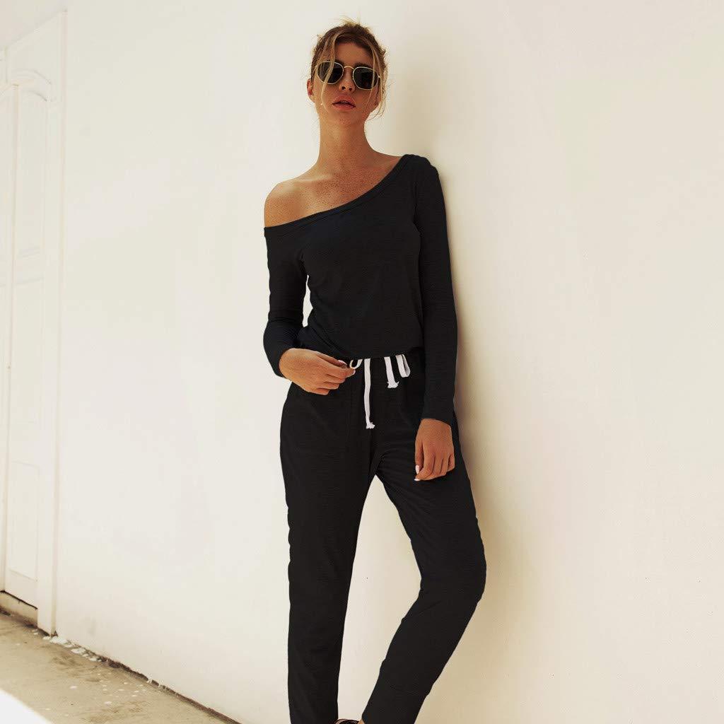 FANFU Womens Long Sleeve Playsuit Ladies Casual Loose Wide Leg Long Pants Jumpsuit