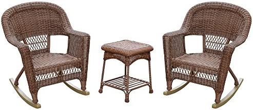 Jeco 3 Piece Santa Maria Rocker Wicker Chair Set