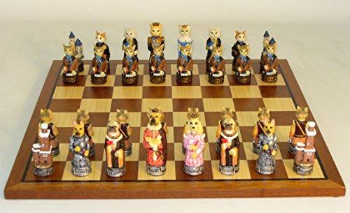 Maple Wood Veneer Chess Board (Cats & Dogs Painted Resin chessmen on Sapele/Maple veneer Board)