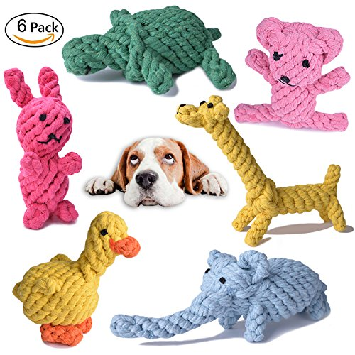 e Animals Design, Cottonblend Playing Toys for Puppies, Small Dogs. Toysboom Rope Toy Set pack of 6 (Braided Rope Toy)