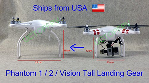 SummitLink Tall Landing Gear White for DJI Phantom 1 2 Vision+ Plus Quadcopter Wide & High Extended