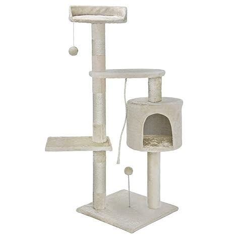Bakaji Árbol Rascador Sisal para Gatos con Nidos y Plataformas Bolas de Juego Dimensiones 112 x