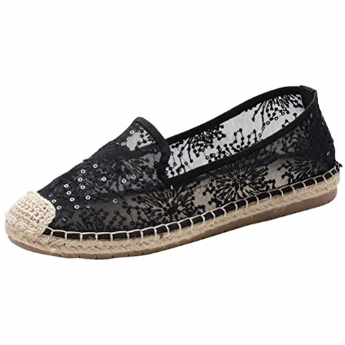 LANCROP Women's Loafers Slip On Sneakers - Comfortable Mesh Hollow Floral Lace Sequin Sparkly Flat Shoes 8.5 M US Black