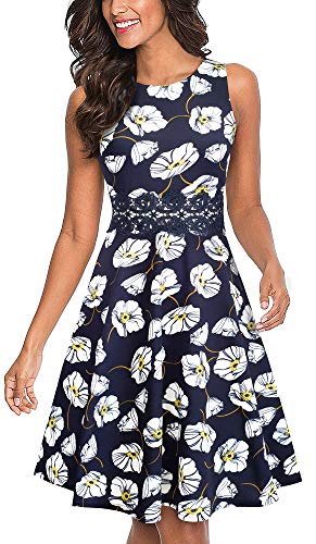 HOMEYEE Women's Sleeveless Cocktail A-Line Embroidery Party Summer Wedding Guest Dress A079(6,Dark Blue+White Floral) ()