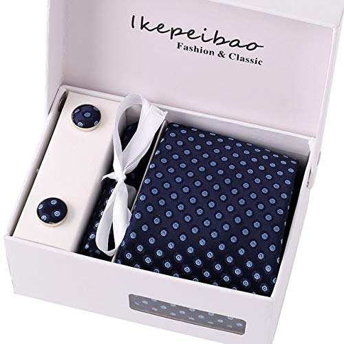 Graven Ikepeibao Mens Wide Polyester Italian Ties Cuff Link Hankie Clips Custom Checked Gravatas Necktie Sets Ties for Business Formal - (Color: K71)