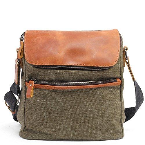 Simple Color Classic Canvas Army Green Zipper Yiwuhu Messenger Shoulder Retro Bag Waterproof dxPw8qZ