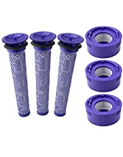 6 Pack Vacuum Filter Replacement Kit for Dyson Dyson V8+, V8, V7 Absolute Animal Motorhead Vacuums, 3 HEPA Post Filter, 3 Pre Filter, Replaces Part # 965661-01 & 967478-01