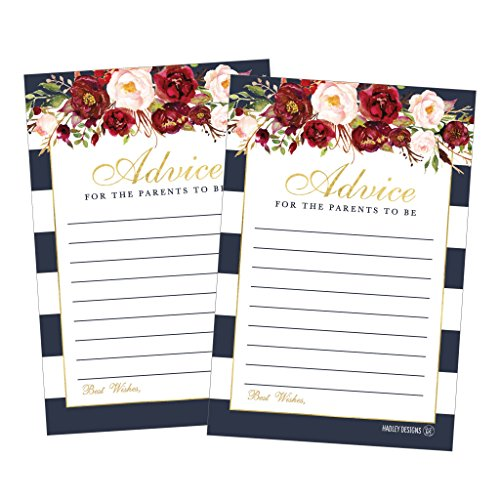 25 Floral New Mommy or Parent Advice Cards For Baby Shower Game Activities Ideas, Expecting Words of Wisdom Message for Parent To Be Boy Girl Co-Ed Couples Gender Reveal Keepsake Alternative Guestbook