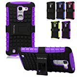 Cellularvilla LG Optimus G Pro 2 F350 Purple Black Tough Hard Soft Heavy duty Rugged 2 in 1 Combo Hybrid Dual Layer Grip Protection Case Cover Protector with Build in KickStand