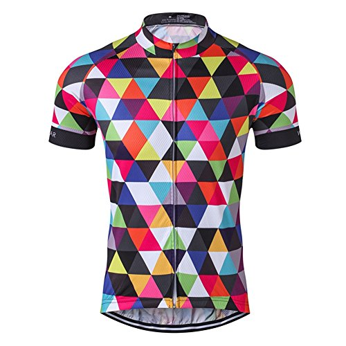 Mens Cycling Jersey Short Sleeve Bike Clothing Multicolored Diamond Size