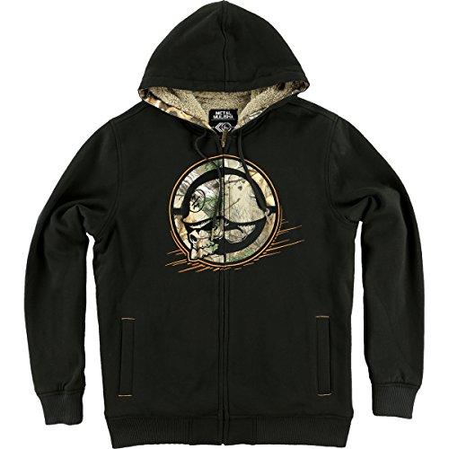 Metal Mulisha Mens Rank Sherpa Lined Hoody Zip Sweatshirt Large Black (Print Screen Sweatshirt Sherpa)