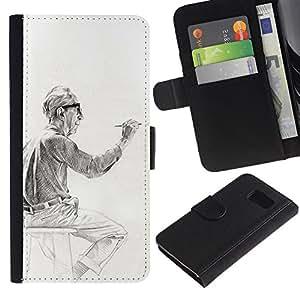Paccase / Billetera de Cuero Caso del tirón Titular de la tarjeta Carcasa Funda para - artist painter man painting drawing - Samsung Galaxy S6 SM-G920