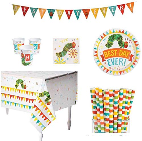 Hungry Caterpillar Party Supplies Bundle - Plates, Cups, 24 Straws,