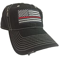 Thin Red Line American Flag Hat cap Black chrome Support firefighters  Firefighter Gift f553bccbf3a6