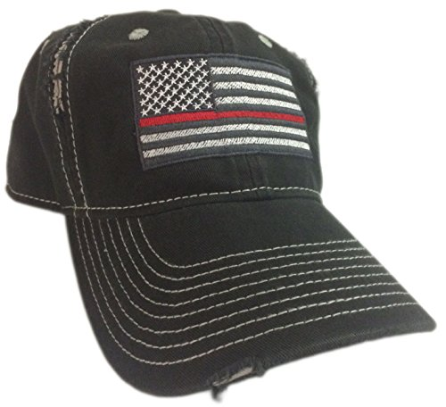 BlvdNorth Thin Red Line American Flag Hat cap Black chrome Support firefighters