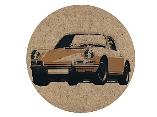 Porsche 911 Sports Car Cork Coasters Coaster Drink Cork Mats Artistic Designs, Set of 4. Eco Friendly