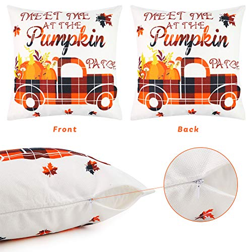 Johouse Thanksgiving Pillow Covers, 4PCS Fall Throw Pillow Covers Pumpkin Buffalo Plaid Throw Pillow Case Autumn Pillow Covers for Autumn Farm Decoration, 18×18inch