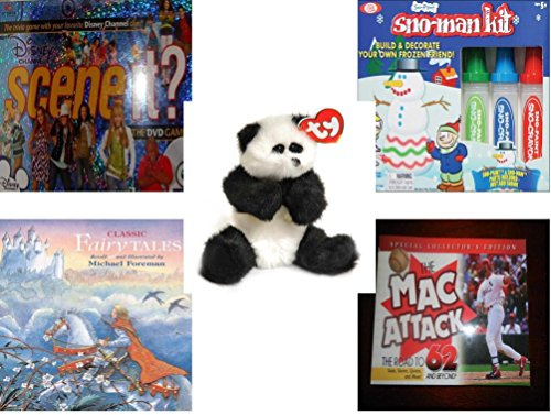 Children's Gift Bundle - Ages 6-12 [5 Piece] - Scene It? DVD Game - Disney Channel Edition - Sno Paint Snowman Kit Toy - Ty Attic Treasures Checkers the Black - Checkers Disney Fairies