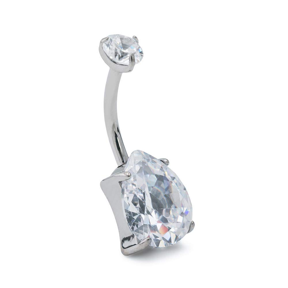 Painful Pleasures 14g 7/16'' Teardrop Jewel Titanium Belly Button Ring - Crystal by Painful Pleasures