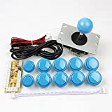 EG Starts 1 Set Zero Delay USB Encoder To PC Controllers 5Pin Joystick Handle + 10x Arcade Push Buttons Switch For Arcade Fighting Stickers & Street Fighter 3 4 5 Mame KOF Games & Blue Colors