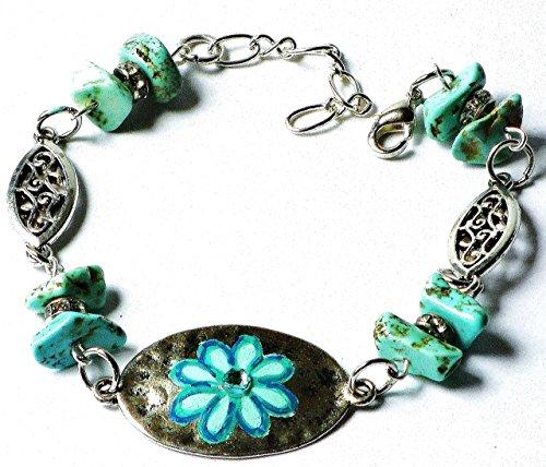 [Boho Flower Pendant Bracelet with Healing Magnesite Nugget Beads] (The Californians Costume)