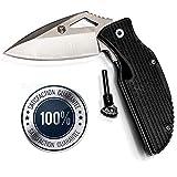 Survival Knife for bushcraft & Prepper Folding Knife with Flint #1 Best