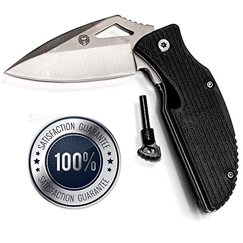 Ultimate Survival Pocket Knife with Ferro Rod Fire Starter | Sharp Stainless Steel Blade & Non-Slip Ergonomic Handle | Robust Design for Camping, Hunting, Fishing & Hiking Idea