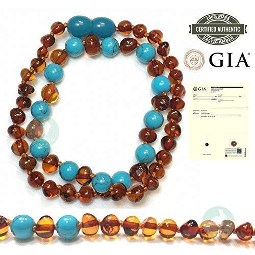 Amber Teething Necklace for Babies, GIA Certified, Baltic Amber, Natural Remedy for Swollen, Drooling & Teething Pain, Cognac/Turquoise