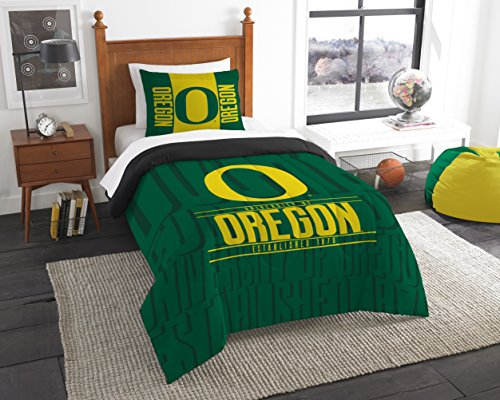 The Northwest Company Officially Licensed NCAA Oregon Ducks Modern Take Twin Comforter and Sham