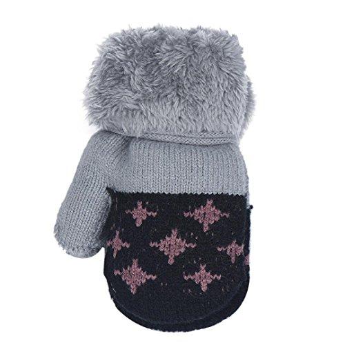 Baby Boys Girls Keep Warm Leaf Gloves For 0-12 Months Black - 4